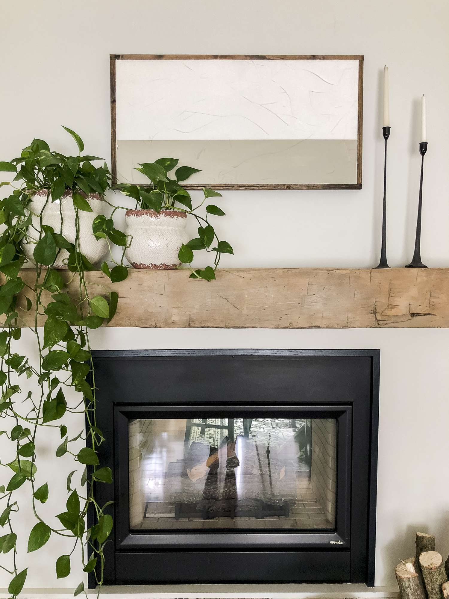 Modern farmhouse mantel artwork