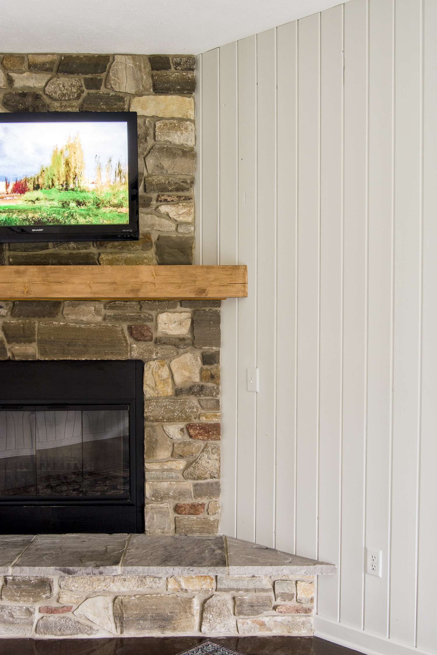 Fireplace makeovers on a budget with new stain.