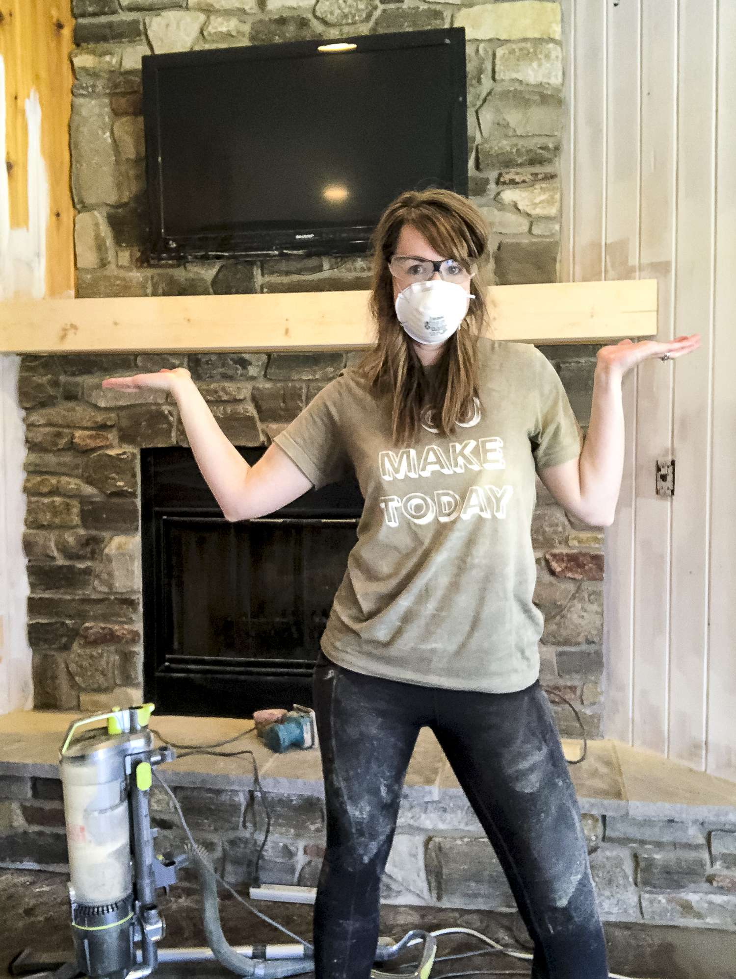 Sanding down a mantel