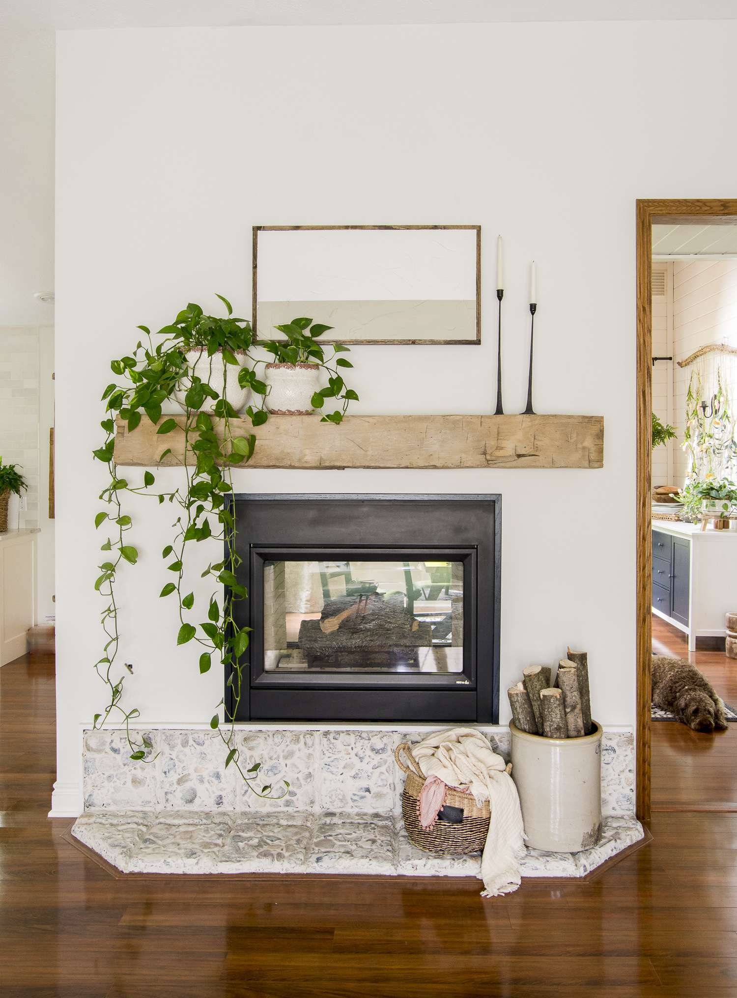 Simple summer mantel with abstract art.