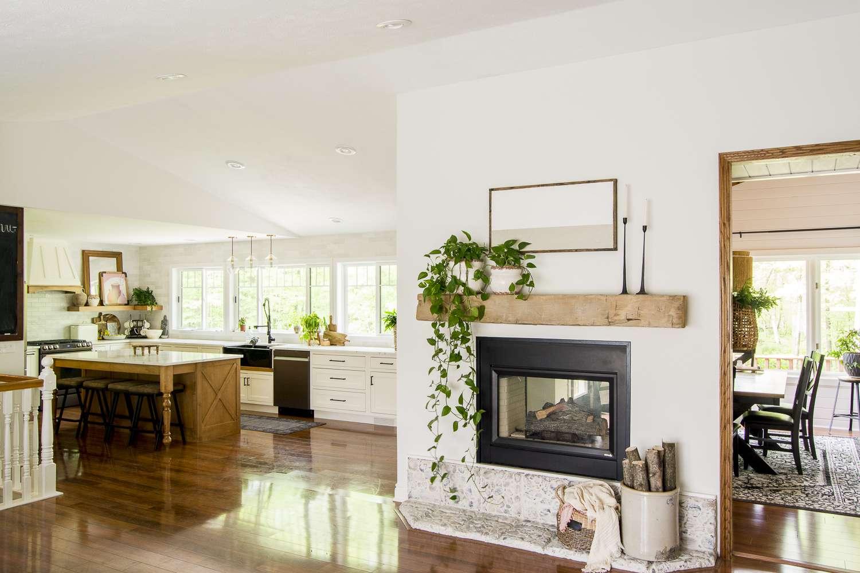 large fireplace mantel decor.