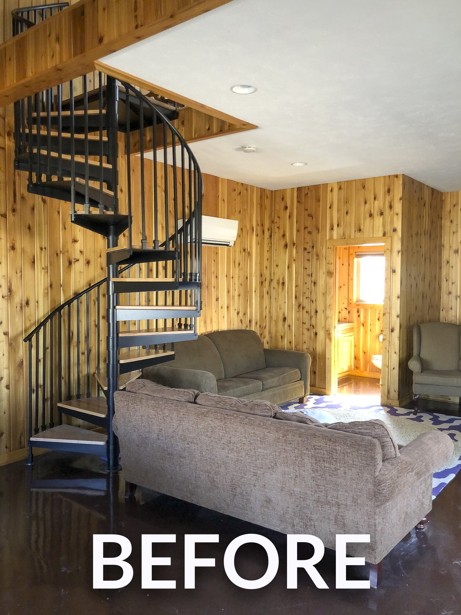 Spiral staircase in a cabin.