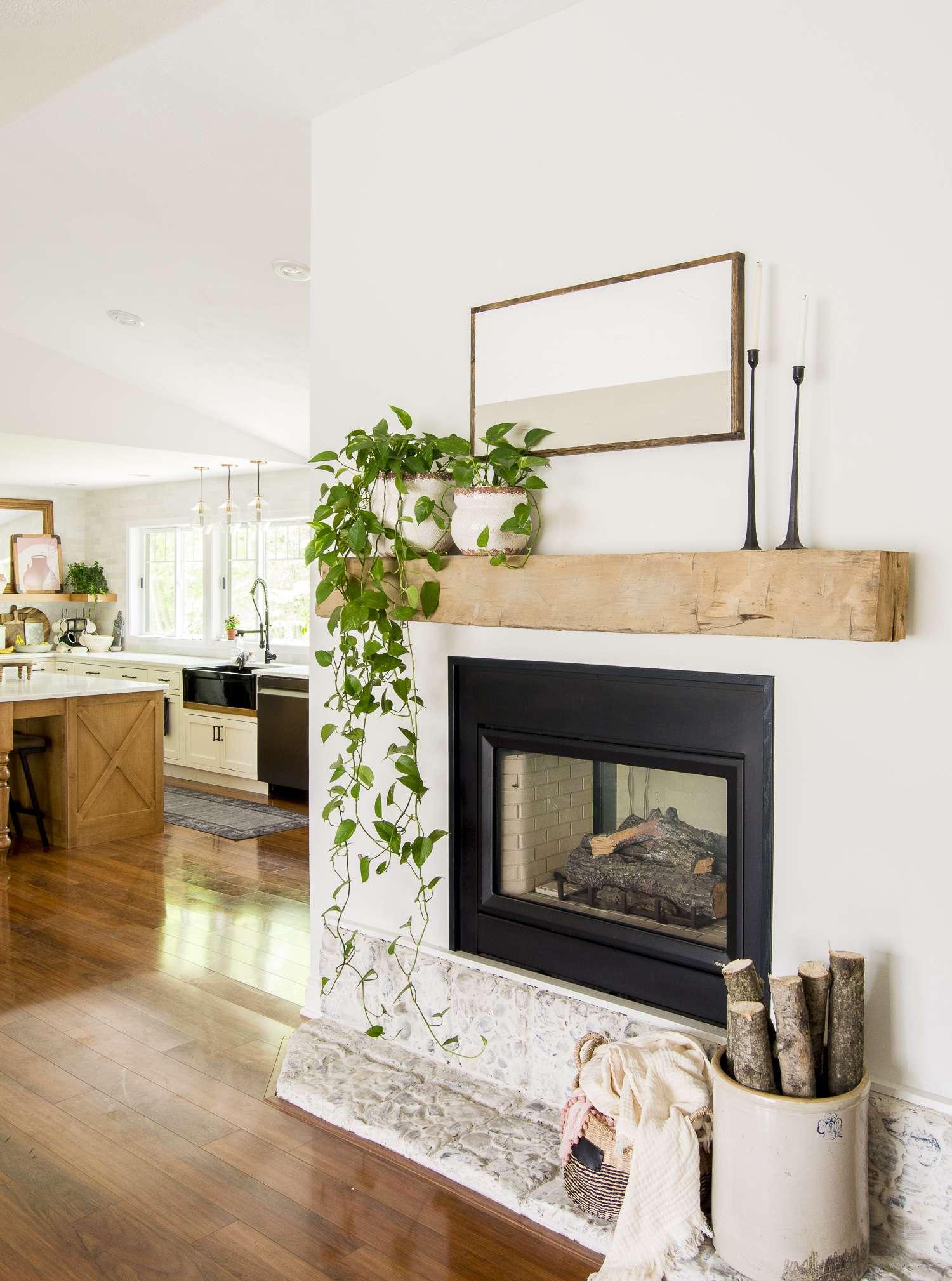 Candle sticks on a fireplace.