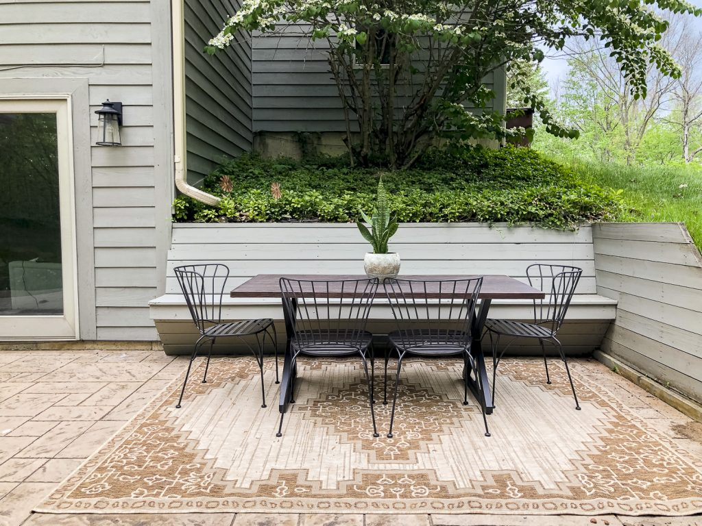 Patio table and chairs.