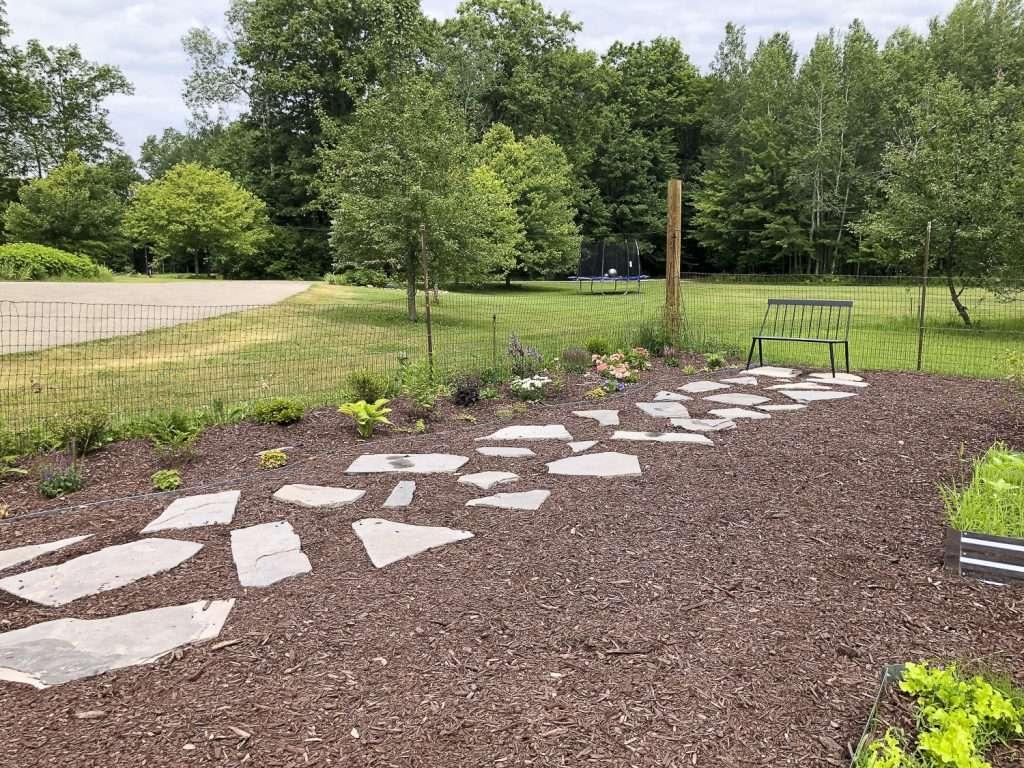 Large flagstone garden pathway.