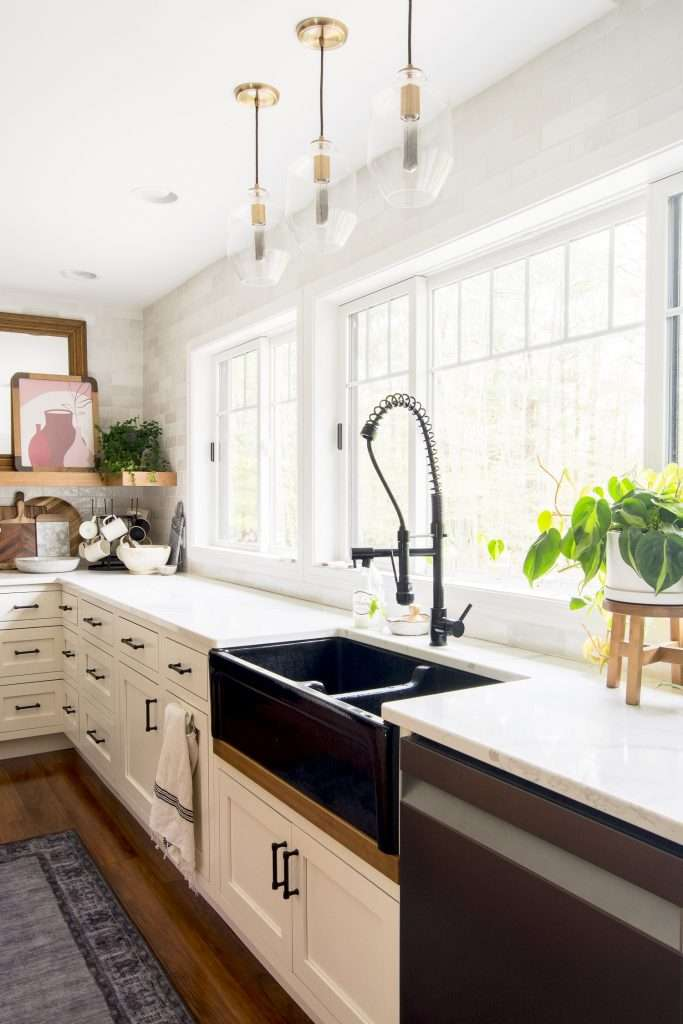 Modern farmhouse kitchen windows.