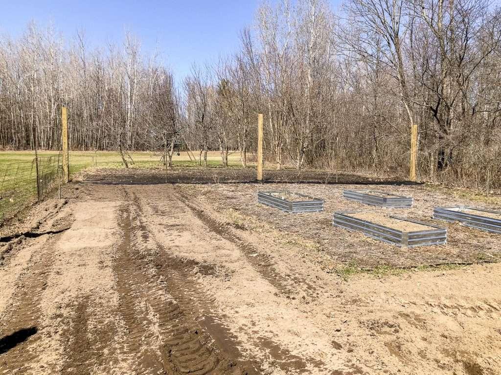 Garden before flagstone pathway.