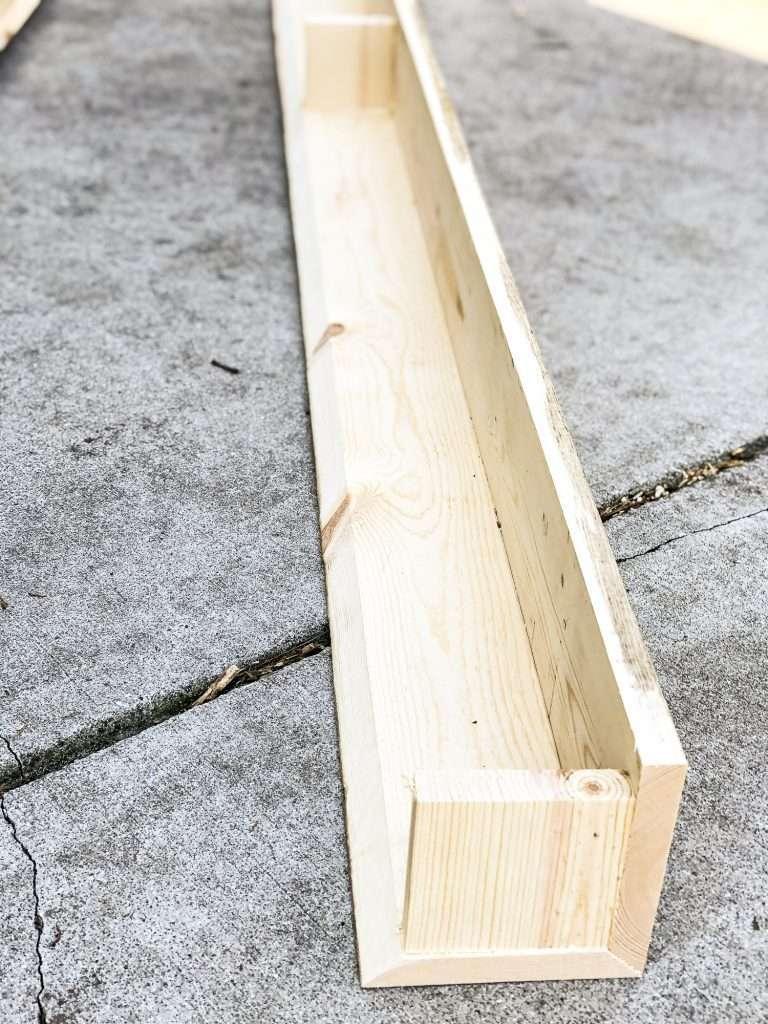 Wood beams being built.