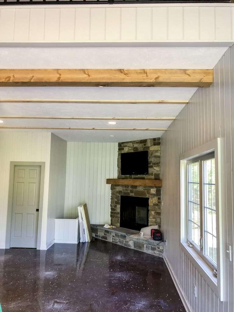 Building faux wood beams.