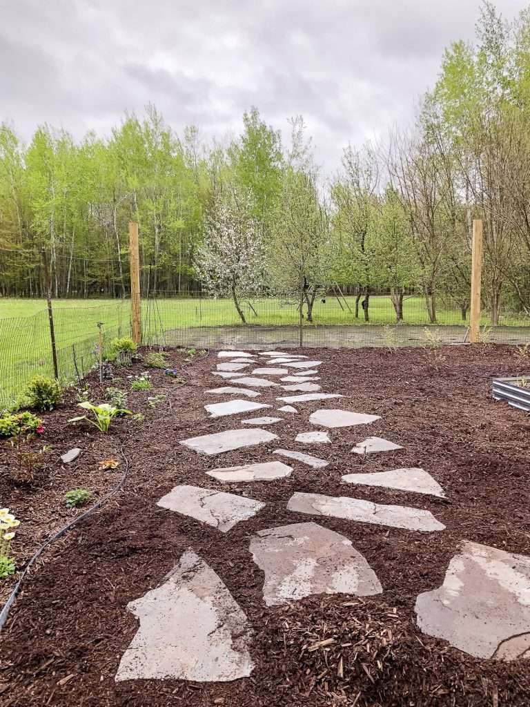Completed flagstone pathway.