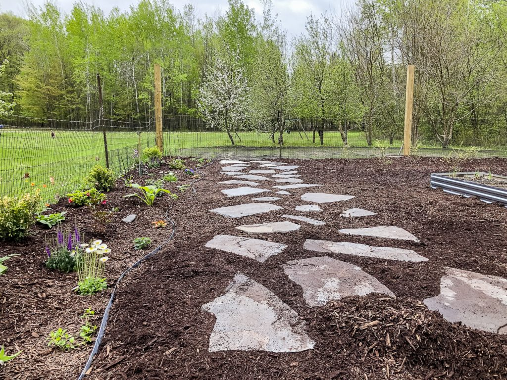 Add mulch to the flagstone pathway.