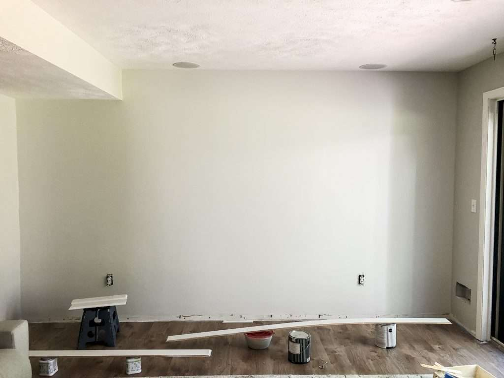 Painted trim for a DIY accent wall.