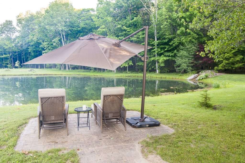 Patio area by the pond