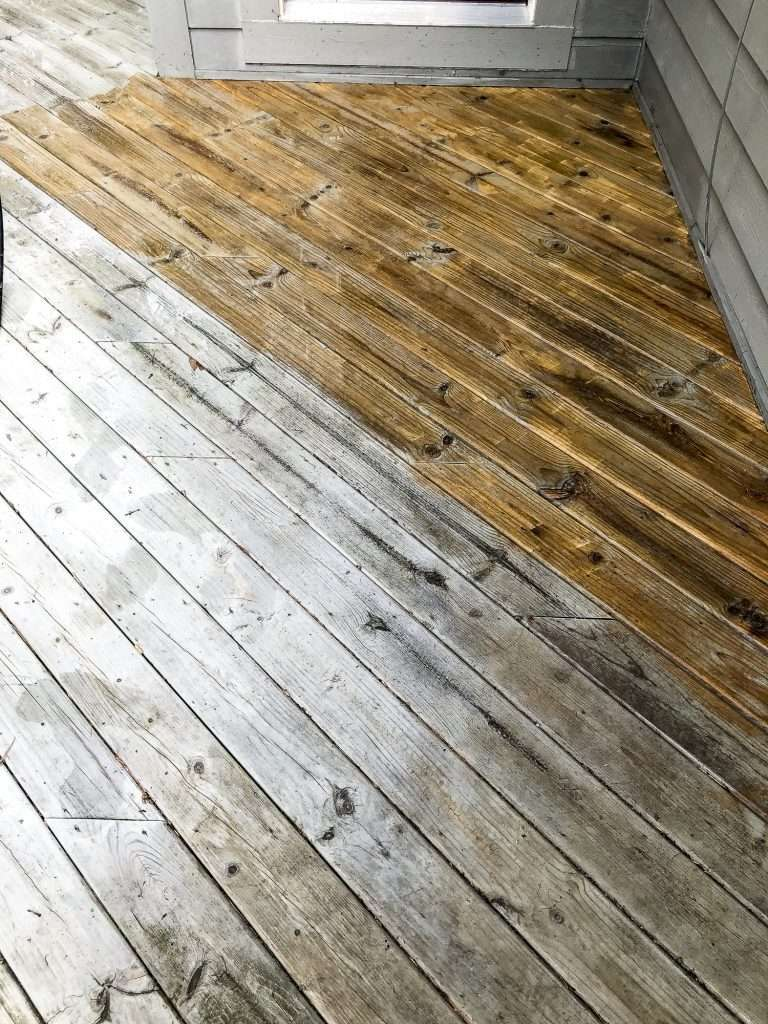 Pressure wash wood deck.