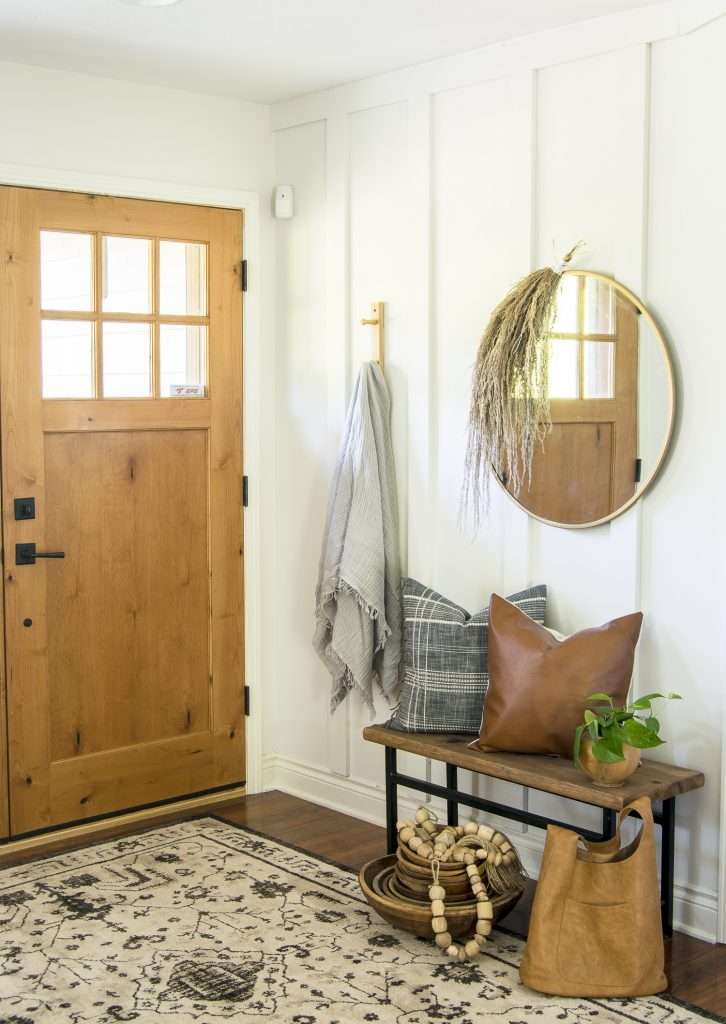 Simple entryway styled for fall.