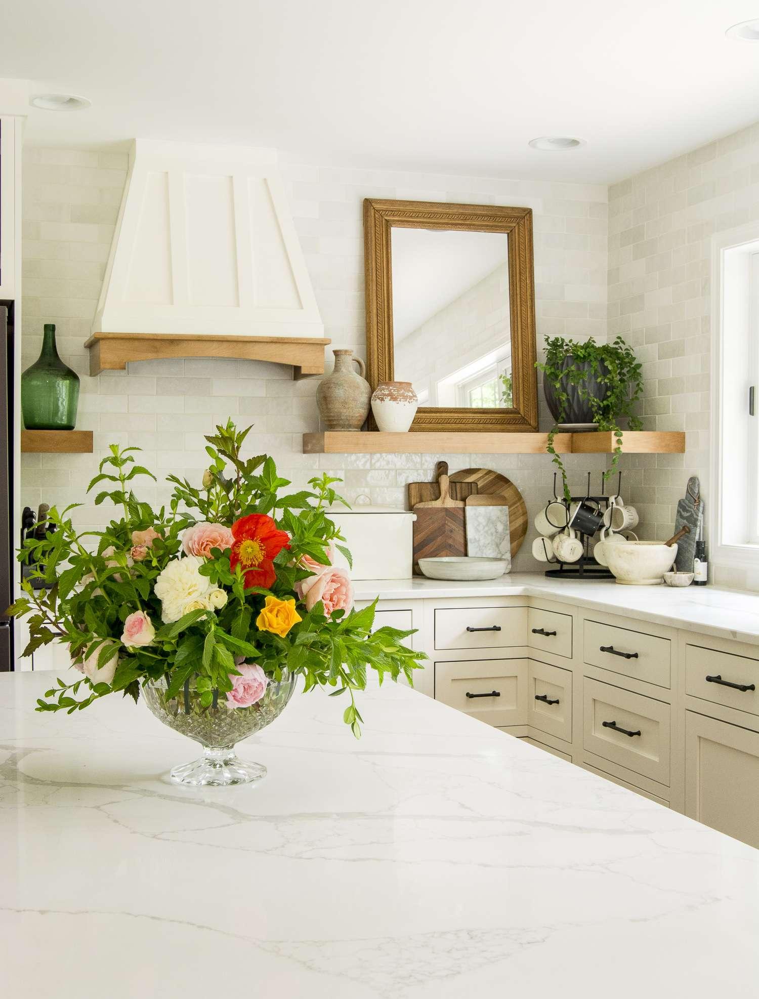 Kitchen backsplash and countertop.