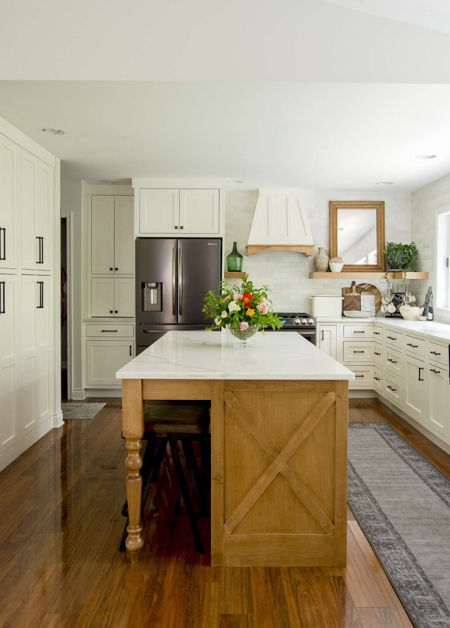 Central island in a kitchen remodel.