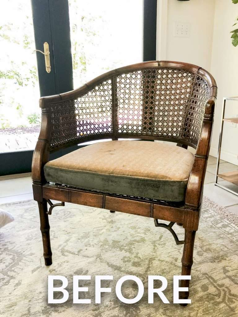 Cane armchair before refinishing.