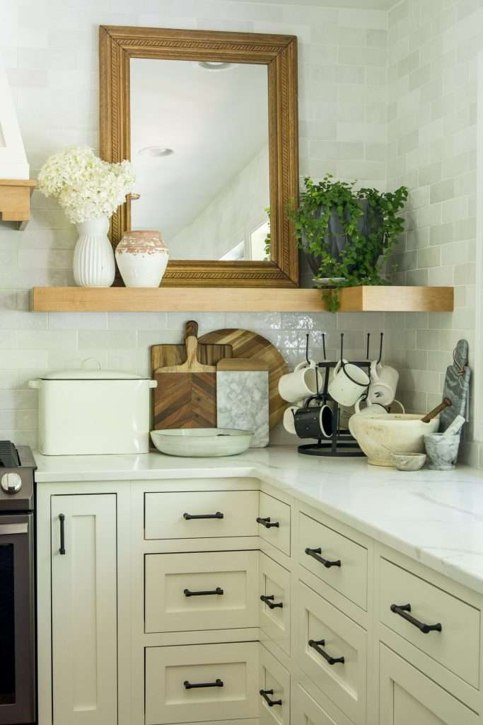 Open shelving in a modern farmhouse style kitchen.