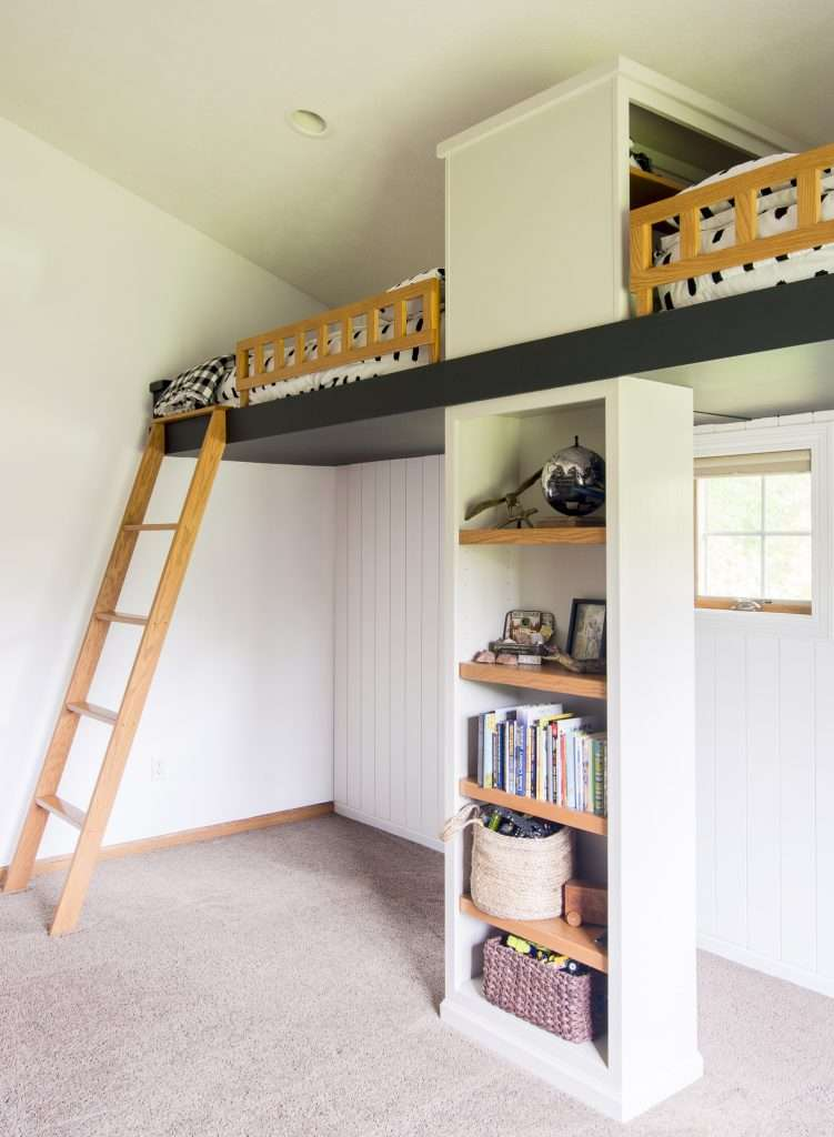 Double loft beds modernized with paint.