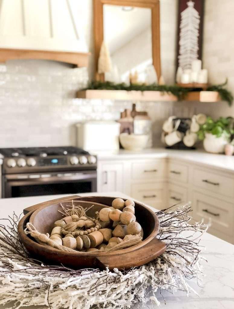 Kitchen island Christmas centerpiece