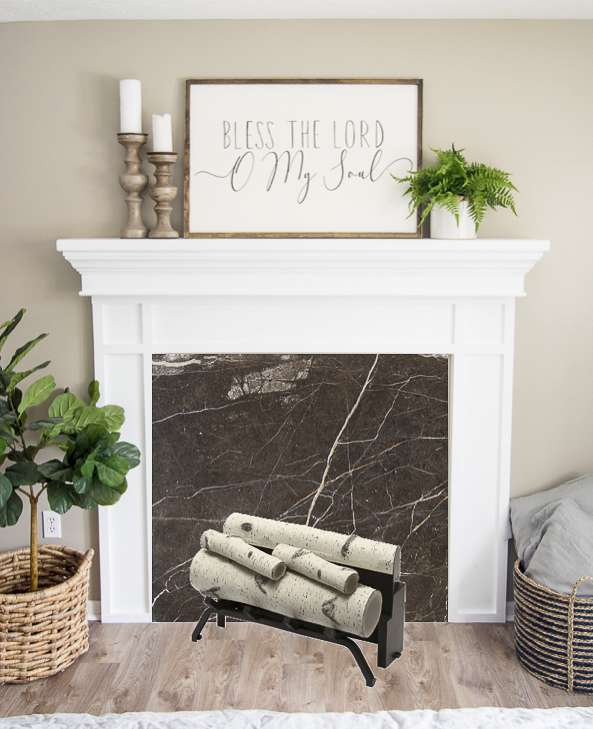 Faux fireplace insert mock up