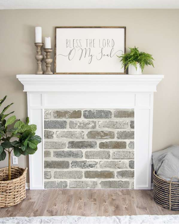 Authentic looking brick fireplace insert.