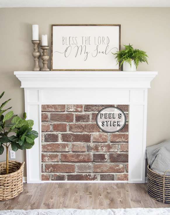 Red brick fireplace insert.