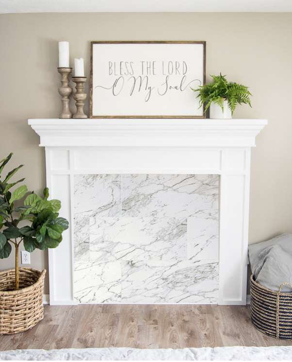 Cararra marble fake fireplace insert