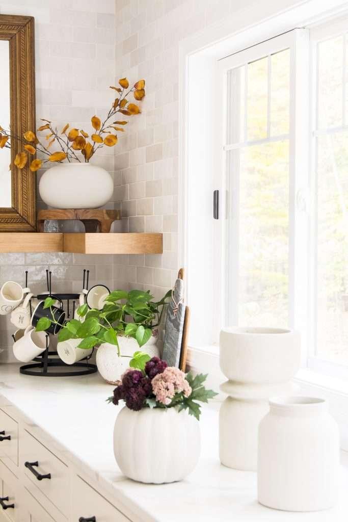 Vases in a kitchen.