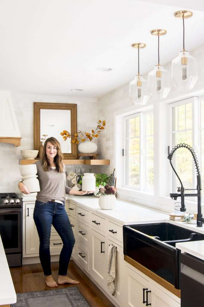 DIY pottery in a modern farmhouse kitchen