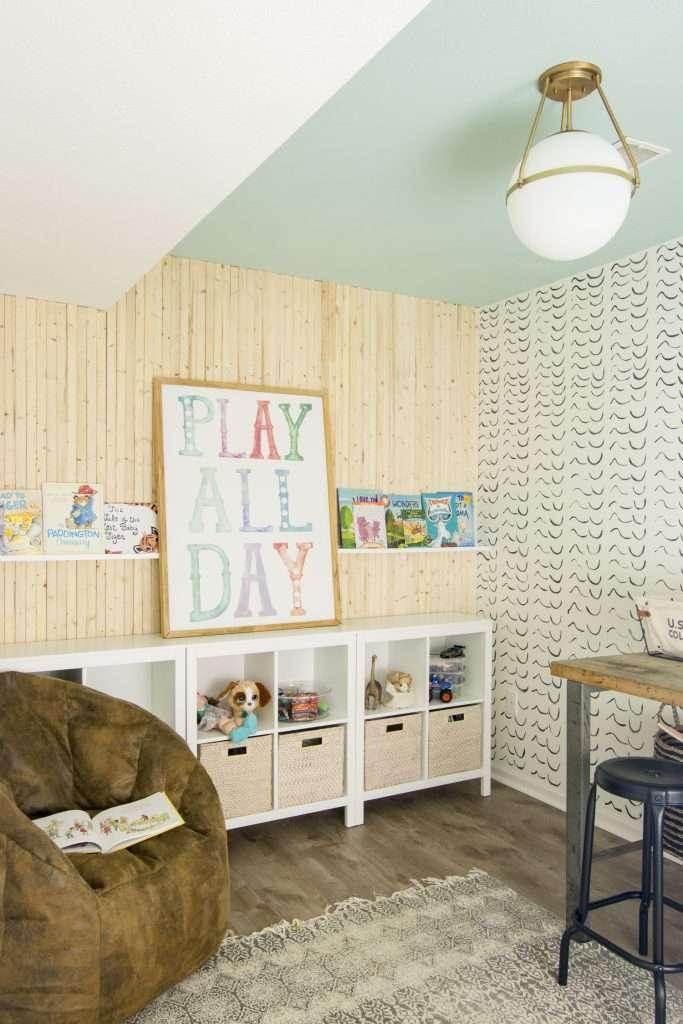 Semi-flush mount decorative lighting in a playroom.