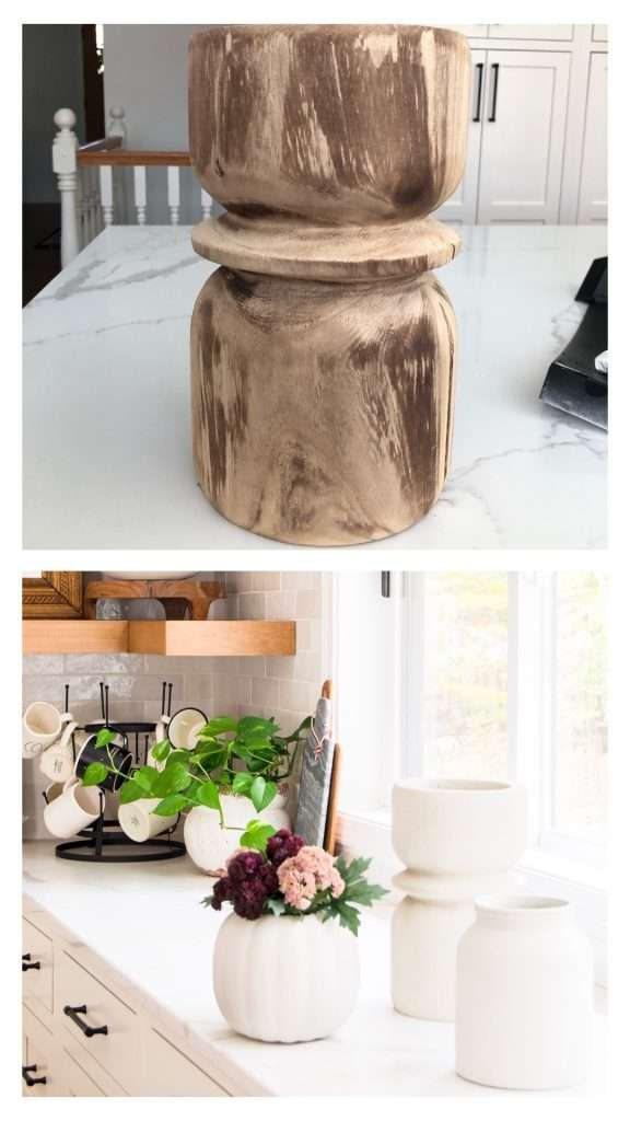 Wood vase turned into pottery