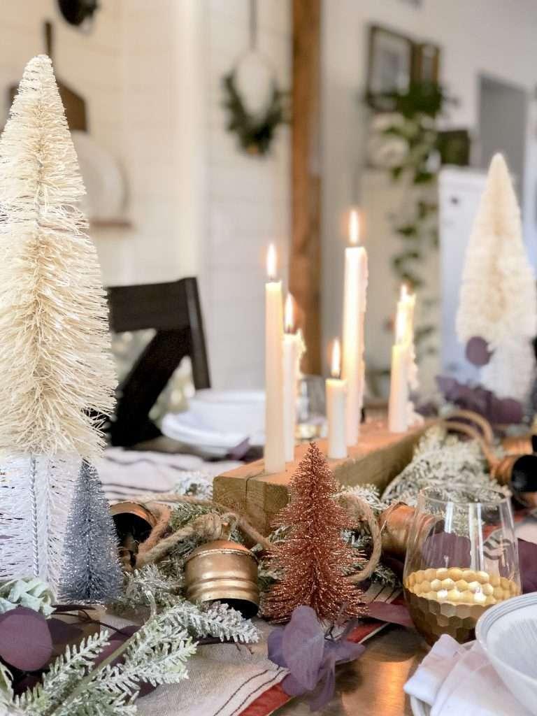 Christmas table decor centerpiece.