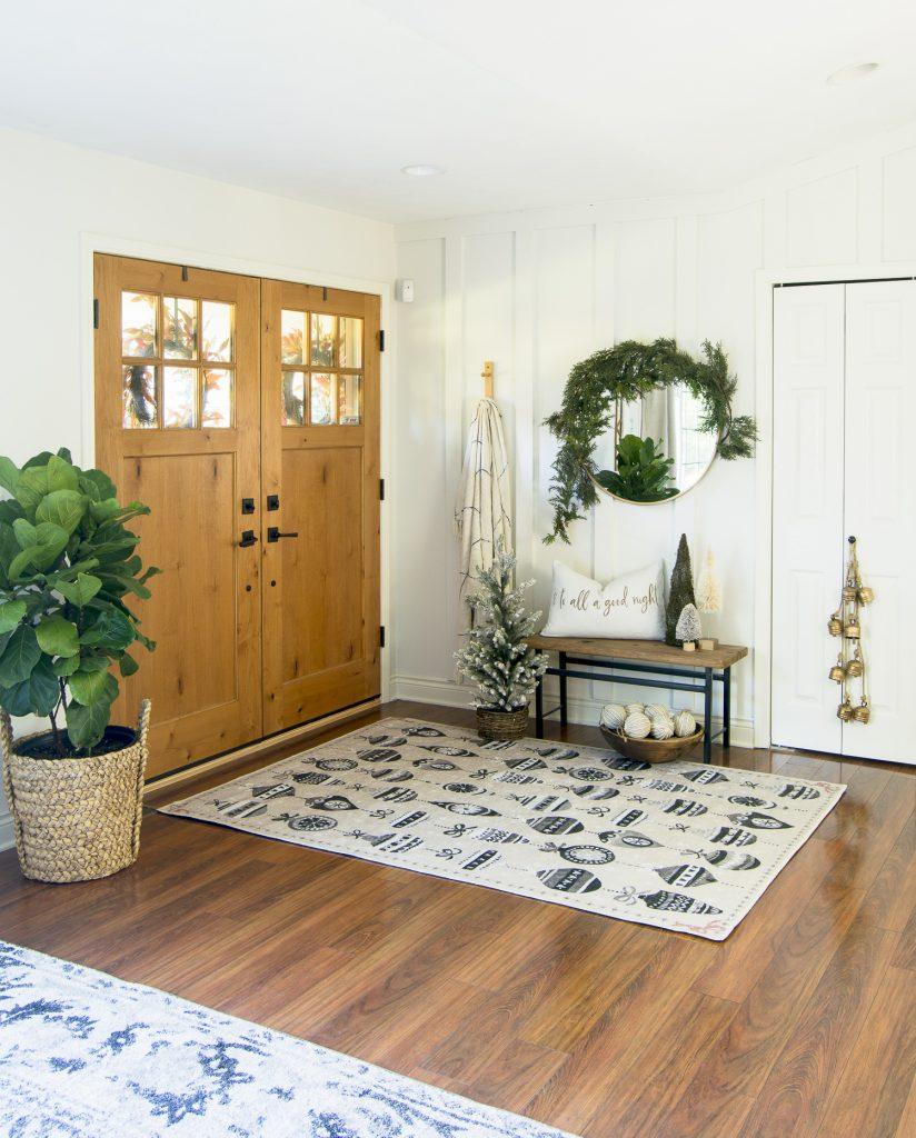 Christmas entryway decor.
