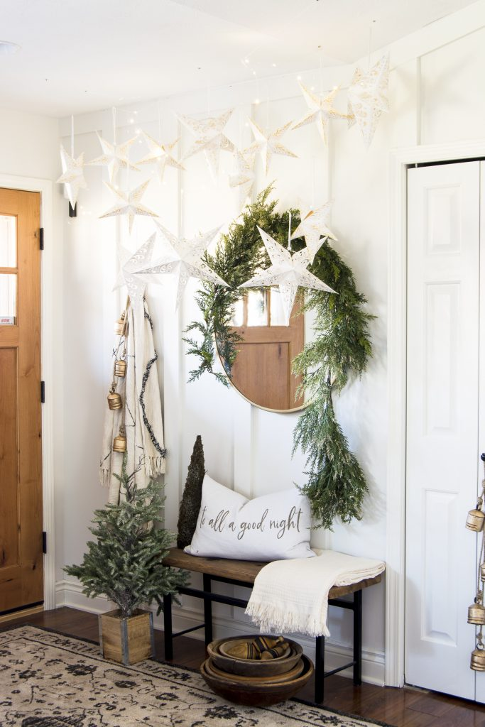 Christmas decorations in the entryway