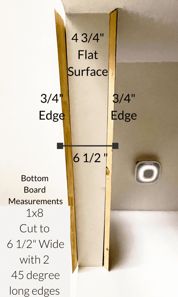 Bottom measurements of a faux wood beam