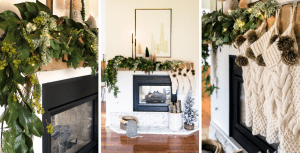 Christmas Mantel Decor with Lighted Garland