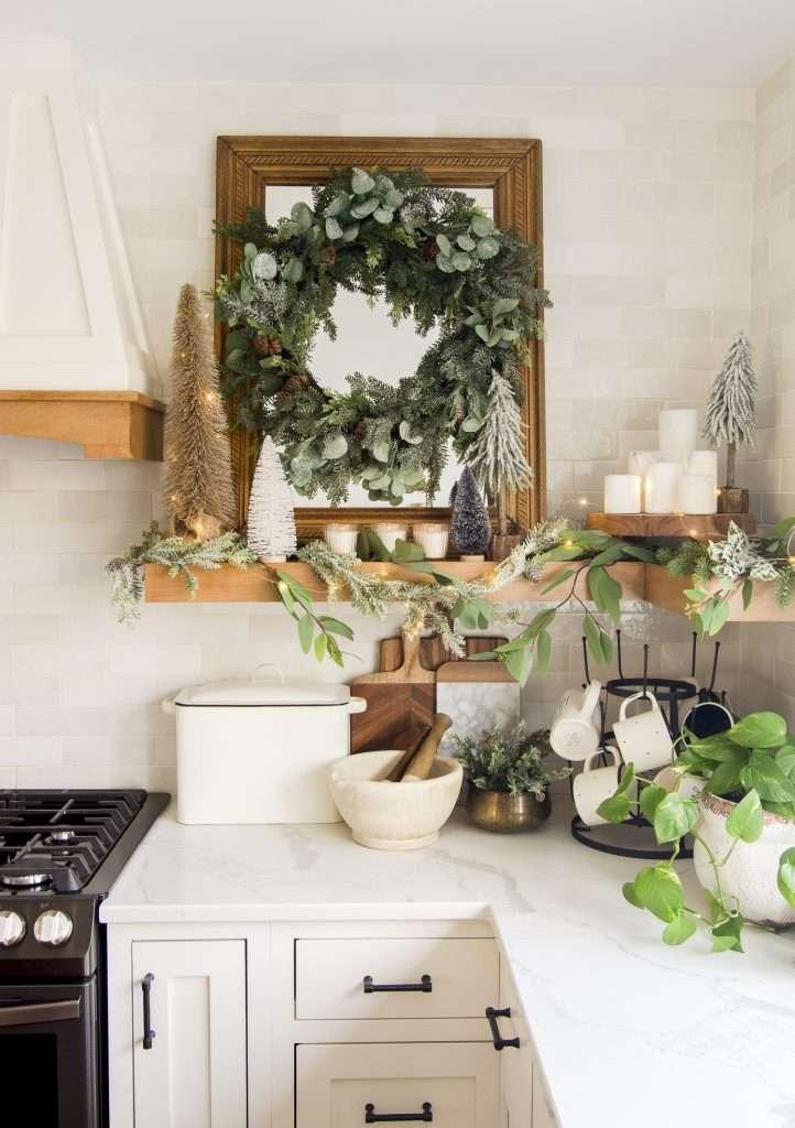 Kitchen shelving decor.