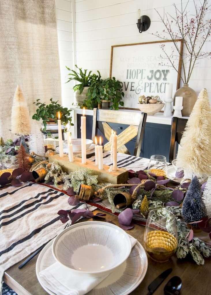 Cozy Christmas table settings.