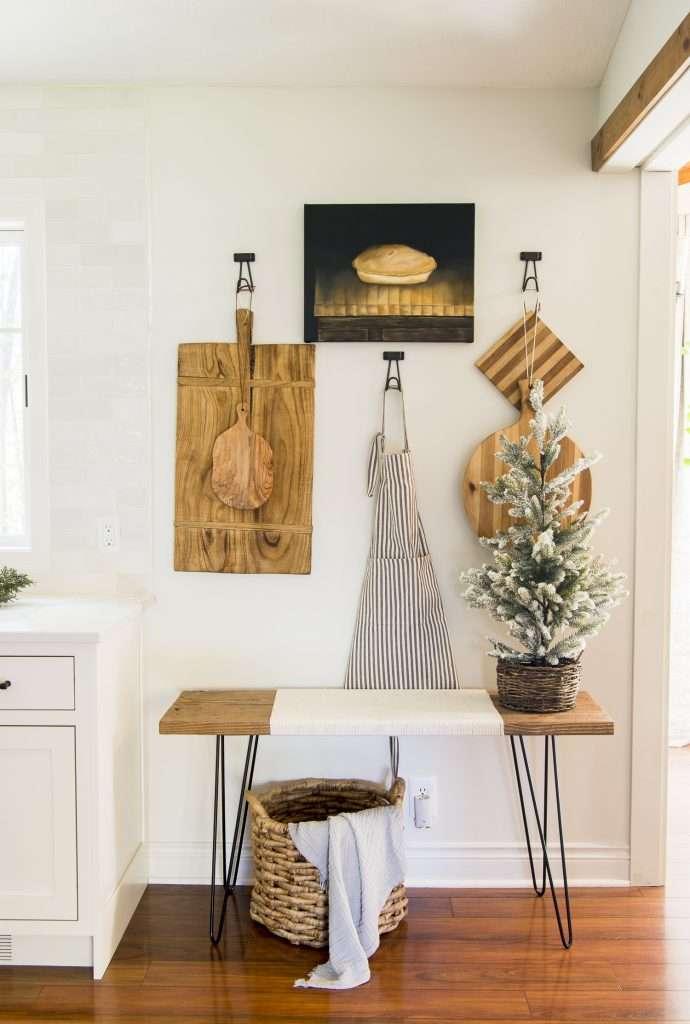 Bread boards in a kitchen.