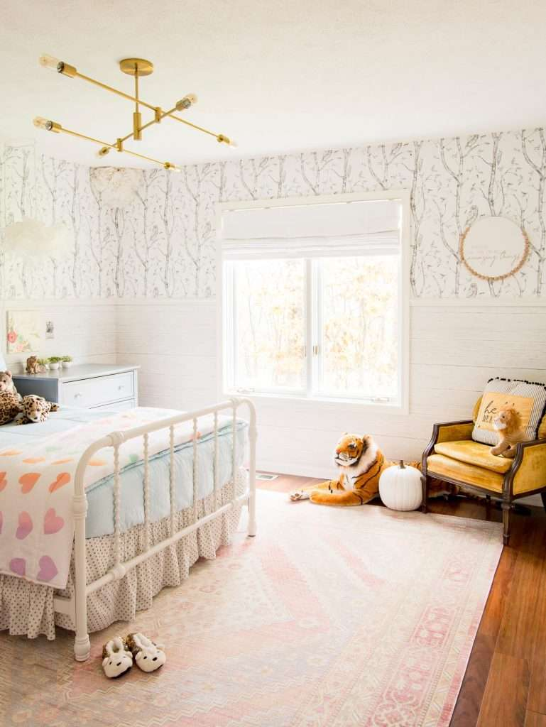 Wallpapered walls in a girl's room.