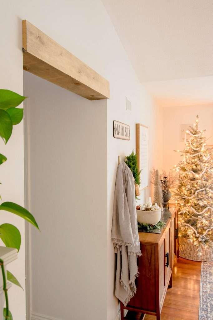 Wood beam door way header