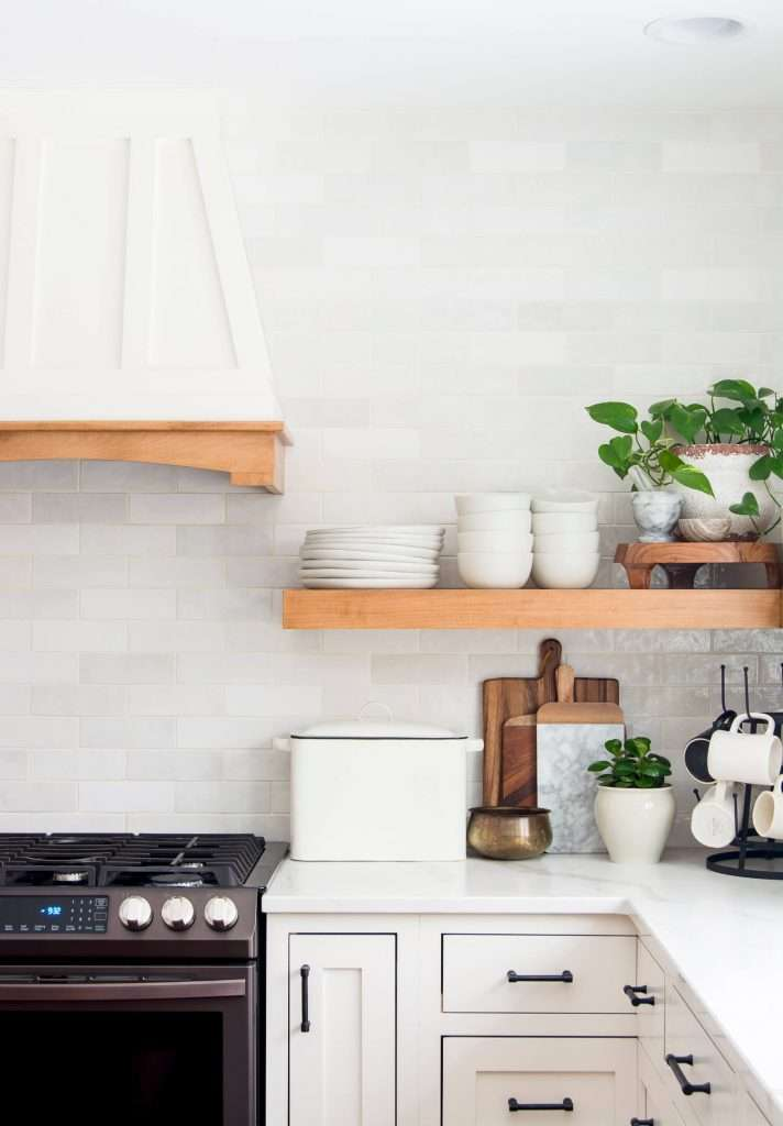 Floating Kitchen Shelves with everyday decor.