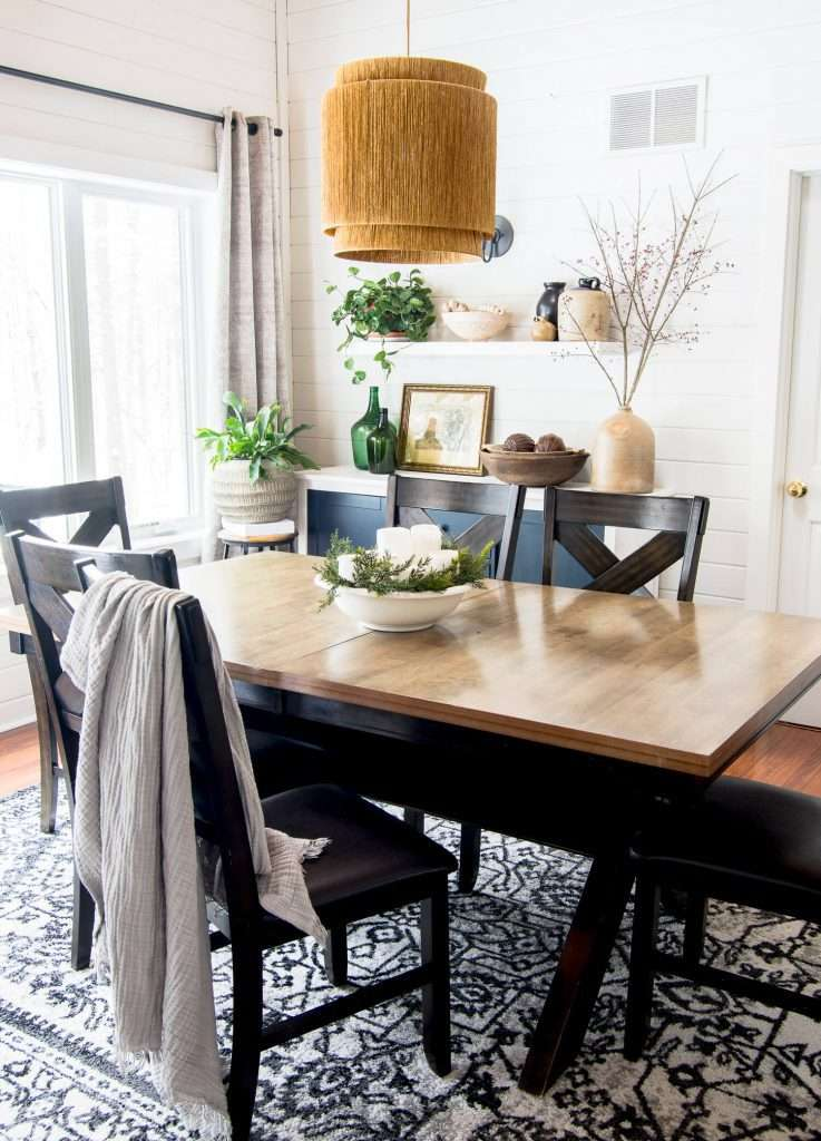 Vintage rustic decor in a dining room.