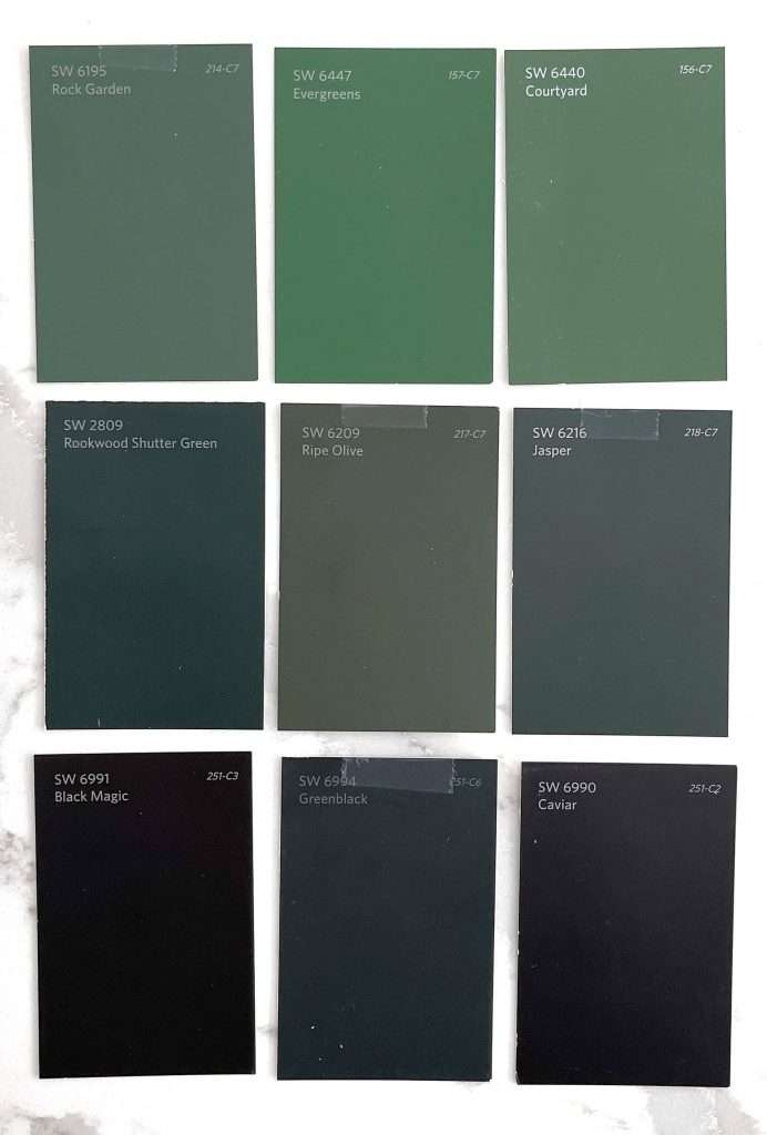 Samples of different green paint colors.