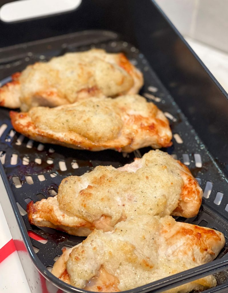 Chicken in an air fryer.