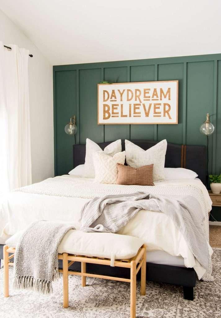 Black DIY upholstered bed frame.