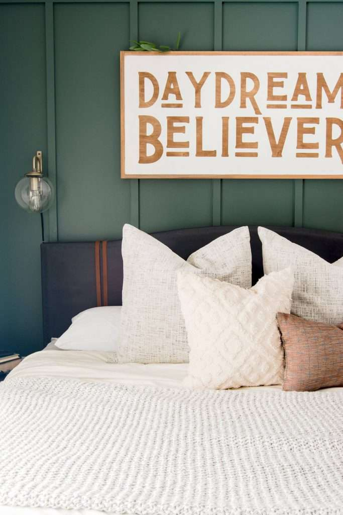 Pillows on a bed.
