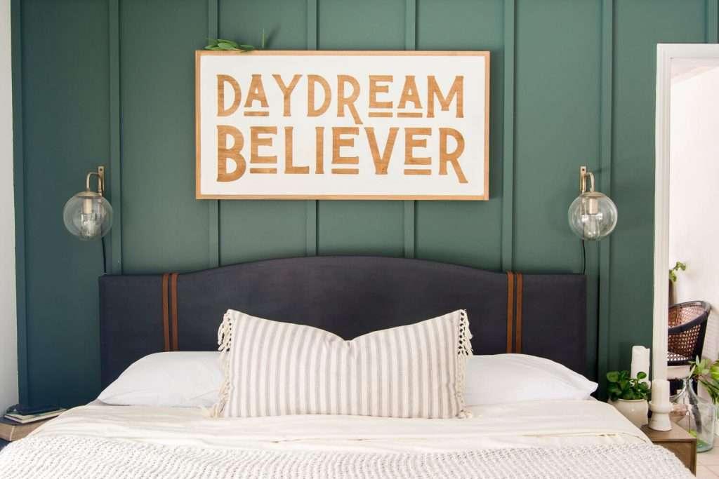 DIY upholstered bed frame painted black
